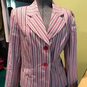 Pink striped blazer, cute pockets & scooped bottom